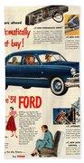 Vintage 1951 Ford Car Advert Beach Towel