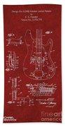 Vintage 1961 Fender Guitar Patent Beach Towel