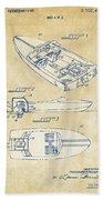 Vintage 1972 Chris Craft Boat Patent Artwork Beach Towel