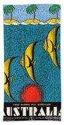Vintage Australia Travel Poster Beach Towel