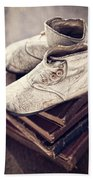 Vintage Baby Boots And Books Beach Towel