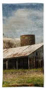 Barn -vintage Barn With Brick Silo - Luther Fine Art Beach Towel