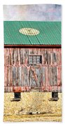 Vintage Barn - Wood And Stone Beach Towel