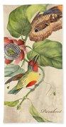 Vintage Bird Study-b Beach Towel