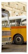 Vintage British Buses In Valetta Malta Beach Towel