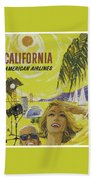Vintage California Travel Poster Beach Towel