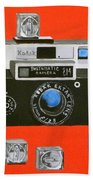 Vintage Camera With Flash Cube Beach Towel