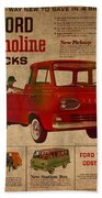Vintage Car Advertisement 1961 Ford Econoline Truck Ad Poster On Worn Faded Paper Beach Towel