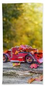 Vintage Car With Autumn Leaves Beach Towel