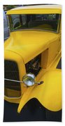 Vintage Car Yellow Beach Towel