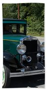 Vintage Cars Green Chevrolet Beach Towel