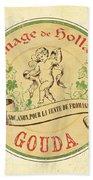Vintage Cheese Label 2 Beach Towel by Debbie DeWitt