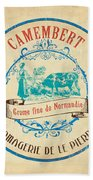 Vintage Cheese Label 3 Beach Sheet