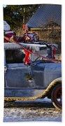 Vintage Christmas Car Beach Towel