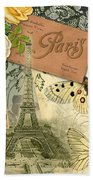 Vintage Eiffel Tower Paris France Collage Beach Towel
