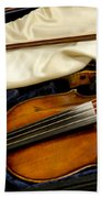 Vintage Fiddle In The Case Beach Towel