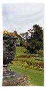 Vintage Flowerpots And Garden View - Powerscourt Garden Beach Towel