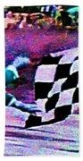 Vintage Formula 1 Race Checkered Flag  Beach Towel