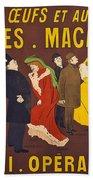 Vintage French Paris Opera Pasta Poster Beach Towel