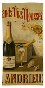 Vintage French Poster Andrieux Wine Beach Towel