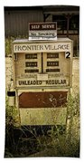 Vintage Gas Pump At An Abandoned Filling Station Beach Towel