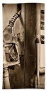 Vintage Gas Pump Showing Its Age Beach Towel
