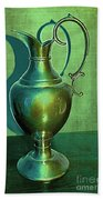 Vintage Green Pewter Pitcher Beach Towel