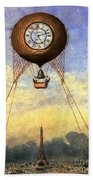 Vintage Hot Air Balloon Over Eiffel Tower Beach Towel