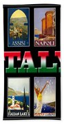 Vintage Italy Travel Posters Beach Towel
