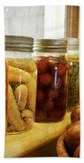 Vintage Jars On A Kitchen Window Beach Sheet