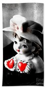 Vintage Lady Head Vase - Black And White With Red Beach Towel