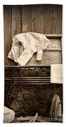 Vintage Laundry Room In Sepia Beach Towel
