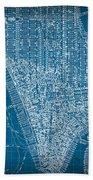 Vintage Manhattan Street Map Blueprint Beach Towel