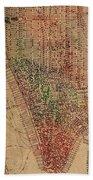 Vintage Manhattan Street Map Watercolor On Worn Canvas Beach Towel