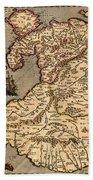 Vintage Map Of Wales 1633 Beach Towel