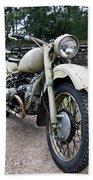 Vintage Military Motorcycle Beach Sheet