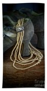 Vintage Pearls And Shoes Beach Towel