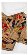 Vintage Playing Cards Art Prints Beach Towel