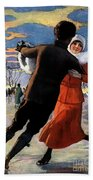 Vintage Poster Couples Skating At Christmas On Frozen Pond Beach Towel