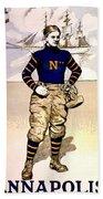 Vintage Poster - Naval Academy Midshipman Beach Towel