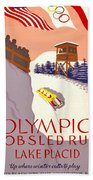 Vintage Poster - Olympics - Lake Placid Bobsled Beach Towel