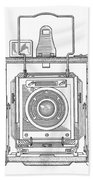 Vintage Press Camera Patent Drawing Beach Towel