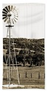 Vintage Ranch Windmill Beach Towel