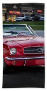 Vintage Red 1966 Ford Mustang V8 Convertible  E48 Beach Towel