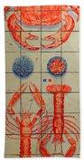 Vintage Seafood Sign 3 Beach Towel