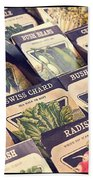 Vintage Seed Packages Beach Towel by Edward Fielding
