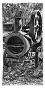 Vintage Steam Tractor Black And White Beach Towel
