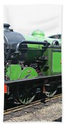 Vintage Steam Train In Green  Beach Towel