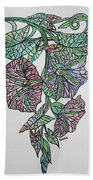 Vintage Style Stained Glass Morning Glory Beach Towel