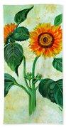 Vintage Sunflowers Beach Towel